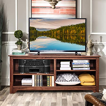Tangkula TV Stand, Classic Design Wood Storage Media Console Entertainment Center for TV up to 60 , Home Living Room Furniture with 4 Open Storage Shelves, Television Stand Brown