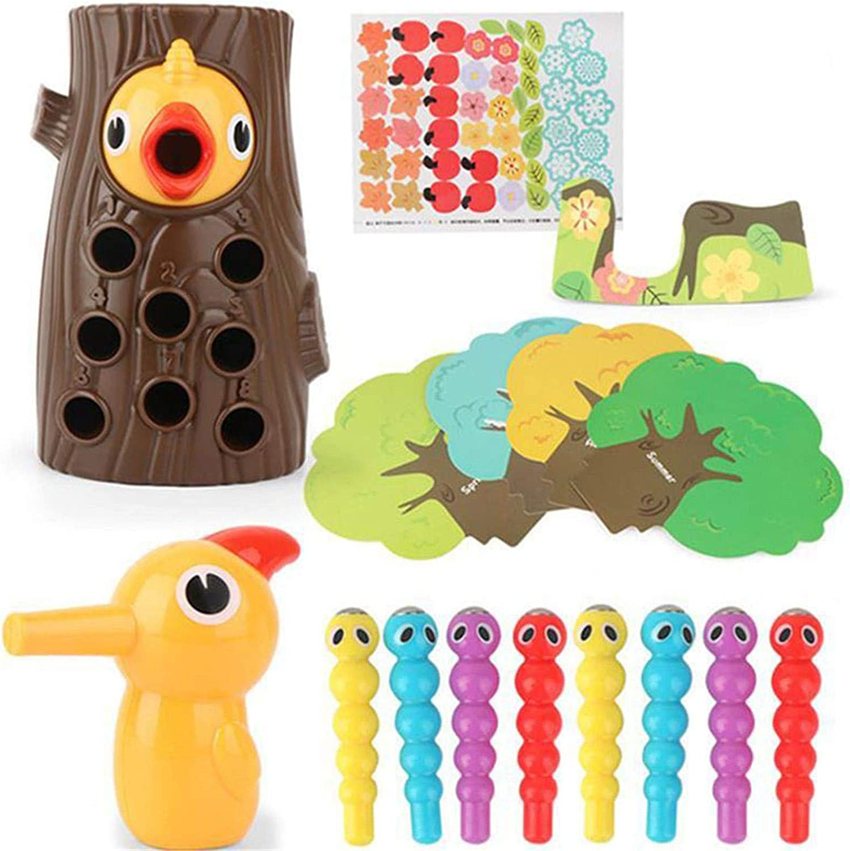 Juguete de pájaro Carpintero Montessori, Juego de Captura de Gusanos, pájaro Carpintero de Madera, Juego de Insectos, Juguetes educativos magnéticos para niños y niñas