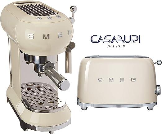 Smeg 2 piezas máquina Caffe ecf01 y tostadora 2 rebanadas Crema ...