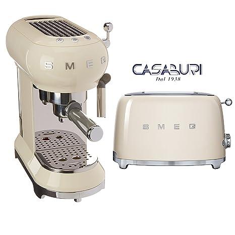Smeg 2 piezas máquina Caffe ecf01 y tostadora 2 rebanadas Crema tsfo.