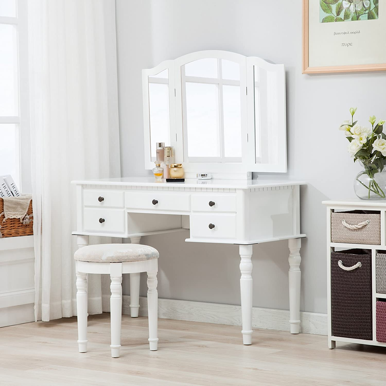 Amazoncom Mecor Tri Folding Mirror Vanity Table Set Makeup Desk