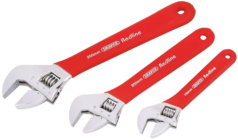 Draper Redline 67634 weicher verstellbarer Schraubenschl/üssel-Set 3-teilig