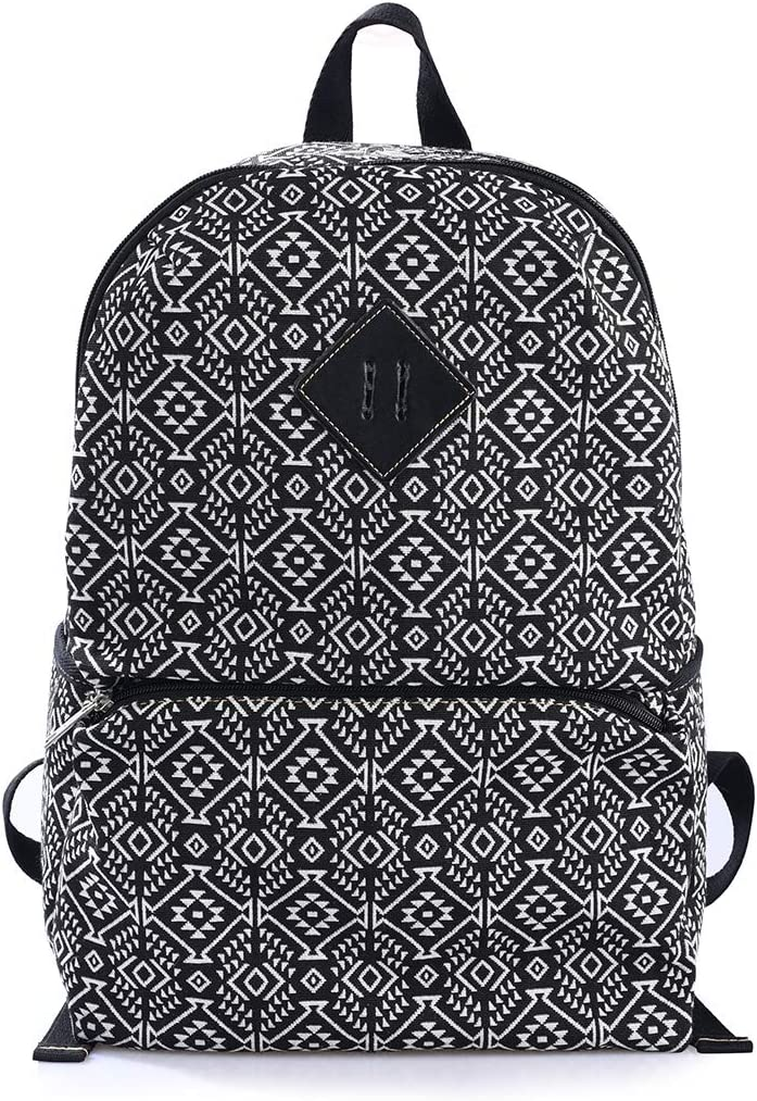 MoreChic Women College Travel Laptop Backpack Canvas Casual Bookbag for Teens(Black)
