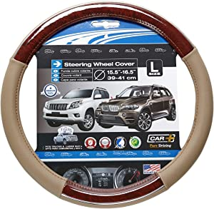 """CHROME LINE Steering Wheel Cover, Two Tone Tan and Wood Grain Design With a Chrome accent, fits all 14.5"""" to 15.5"""" (M) and 15.5"""" to 16.5"""" (L) steering wheels. Bring luxury to your car's interior"""