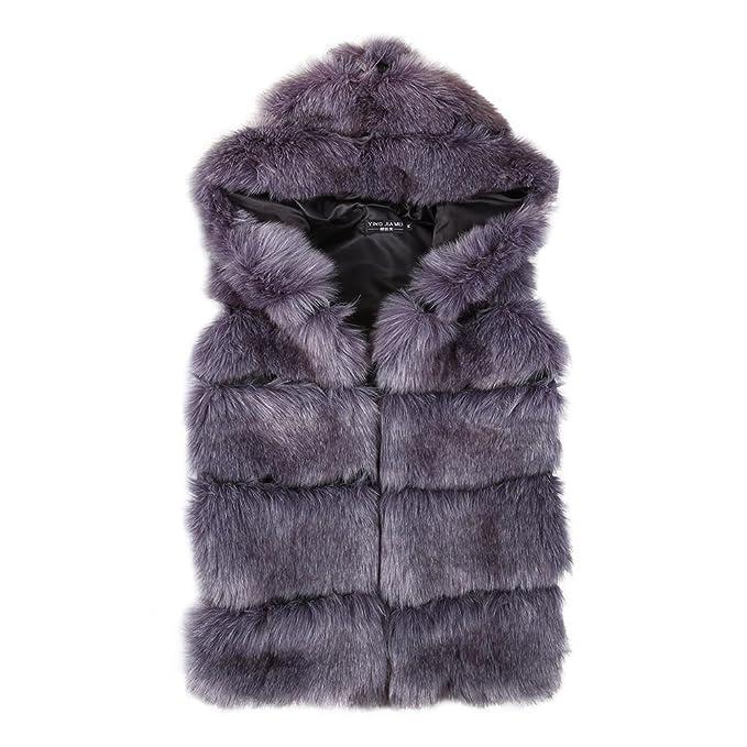 Amazon.com: pandada de la mujer Fox Fluffy de piel sintética ...