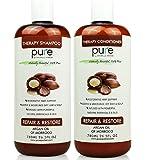 PURE Argan Oil Shampoo & Conditioner Set, HUGE 26.5 oz. Each – Extra Strength Formula with Keratin & Dead Sea Minerals. Restores Shine, Moisturizes Dry & Damaged Hair, Enhances All Hair Types