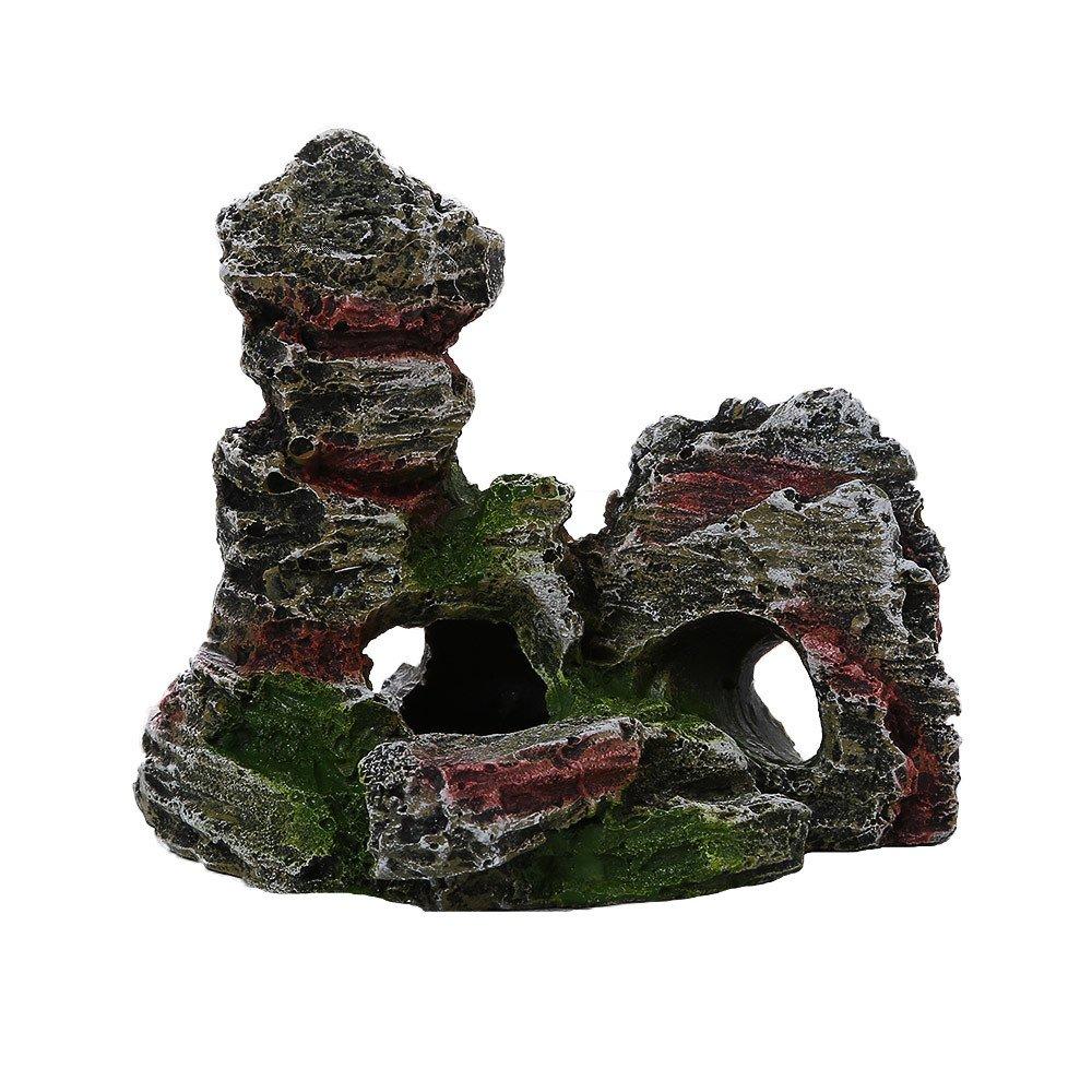Amazon.com : Wffo Mountain View Aquarium Rockery Hiding Cave Tree Fish Tank Ornament Decoration (B) : Pet Supplies