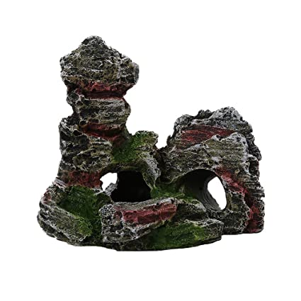 BOBOLover Mountain View Acuario de Roca Escondite Cueva árbol de Peces Ornamento del Tanque Decoración,