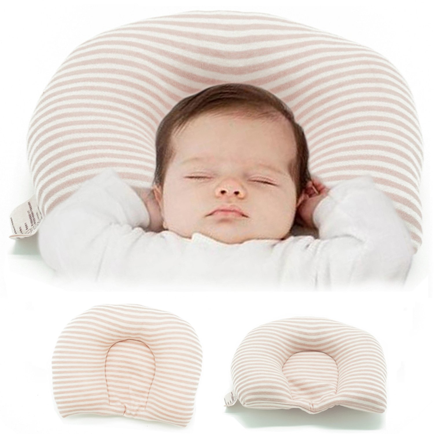 Newborn Baby Head Shaping Pillow Prevent Plagiocephaly Flat Head Syndrome 100% Organic Cotton (0-6 Months), use in Baby Bed, Baby Carriage and Car Safety Seat, Neck-Protector Infant Pillow (Brown) MICROFIRE