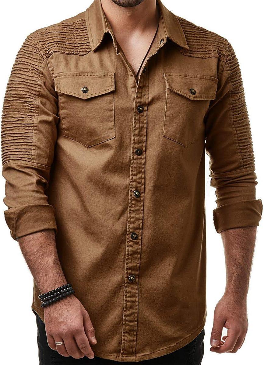 Shenhai Camisa Camisas para Hombres Hombreras Plisadas Color sólido Sección Delgada Camisa Vaquera Manga Larga Tamaño Grande, Caqui, M: Amazon.es: Hogar