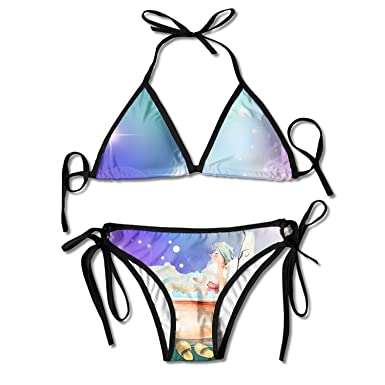 BIBIKINIS Melinda Ditmore Narwhals with Hats Fun-DIY Women's Sexy Comfortable Triangle Bikini Swimsuits For Summer OBi5WyD