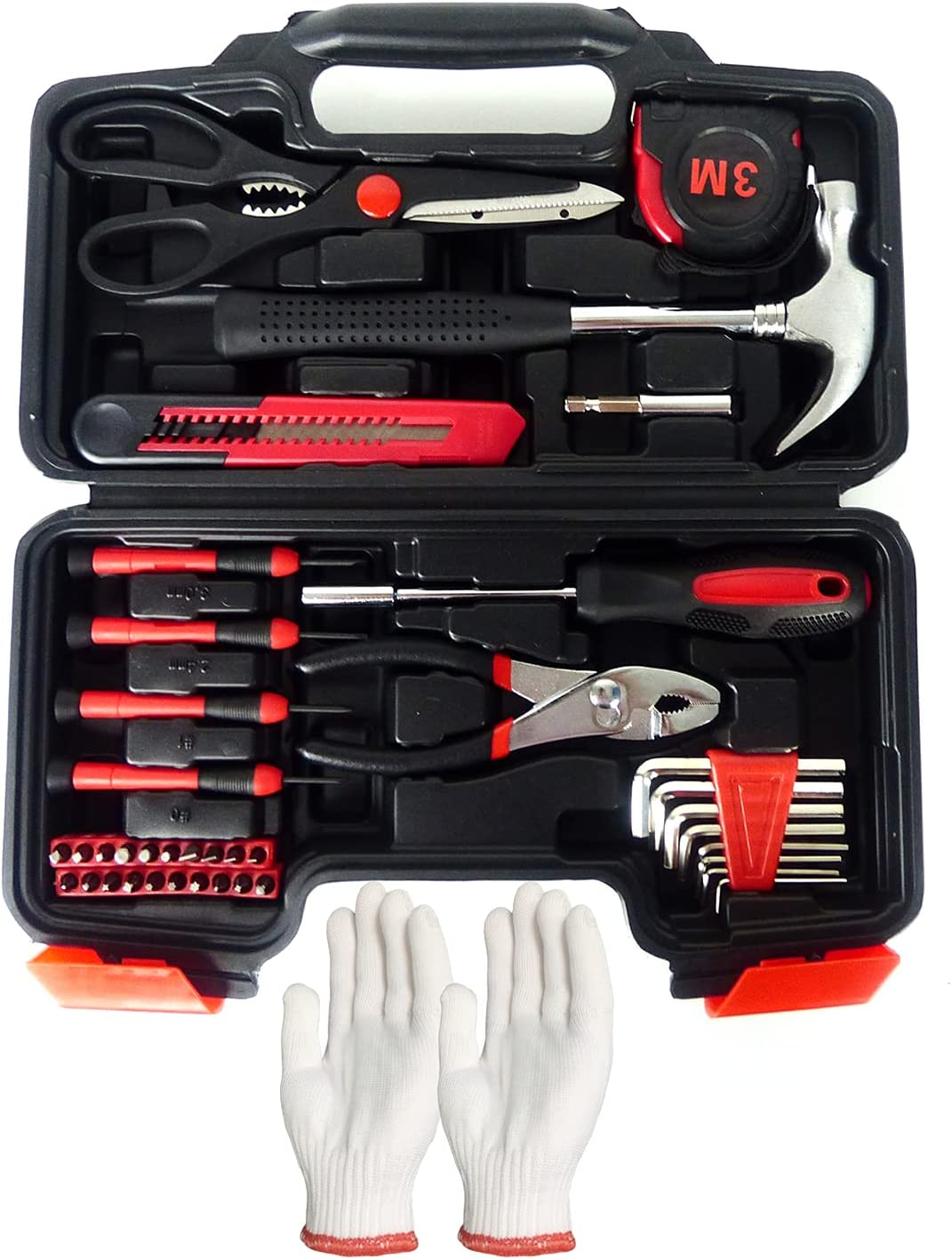 All Purpose Household Hand Basic General Tool Kit 40-Piece With Gloves,Plastic Toolbox Storage Case-Includes All Essential Repair Tools Sets For Home,Garage,Office,Dormitory Use