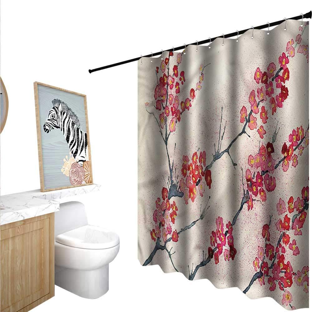 BlountDecor 花柄シャワーカーテン ファブリック エクストラロング ビンテージ ローズ ソフトカラー 55x72インチ バスルームに最適 63