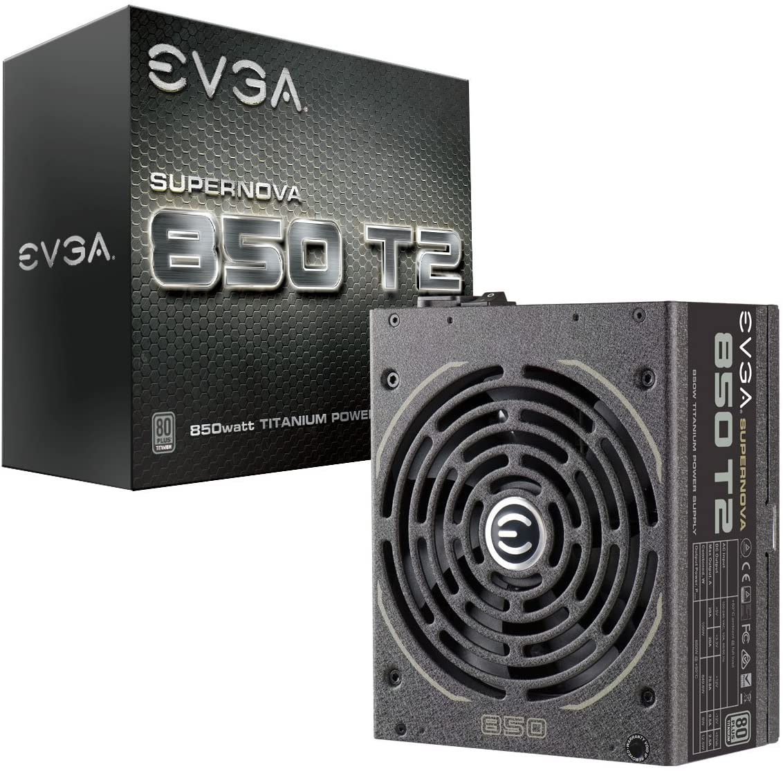 EVGA Supernova 850 T2, 80+ Titanium 850W, Fully Modular, ECO Mode, 10 Year Warranty, Includes Free Power On Self Tester, Power Supply 220-T2-0850-X1, 850 Watt