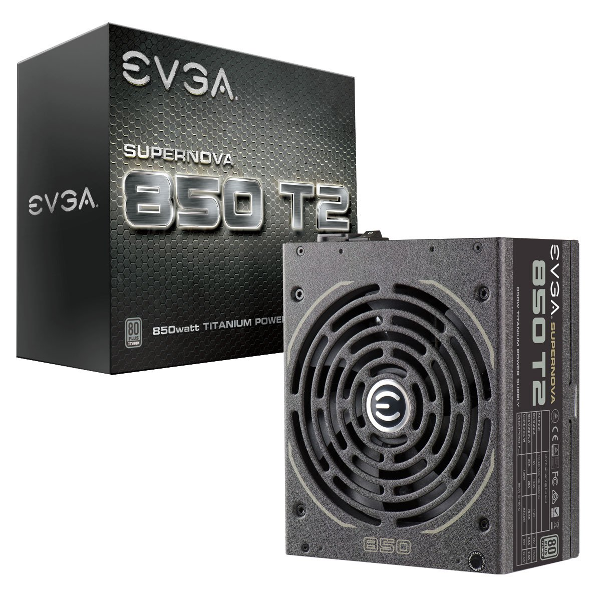 EVGA Supernova 850 T2, 80+ Titanium 850W, Fully Modular, ECO Mode, 10 Year Warranty, Includes Free Power On Self Tester, Power Supply 220-T2-0850-X1 by EVGA