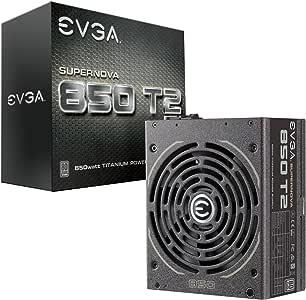 EVGA Supernova 850 T2, 80+ Titanium 850W, Fully Modular, ECO Mode, 10 Year Warranty, Includes Free Power On Self Tester, Power Supply 220-T2-0850-X1, 850 Watt