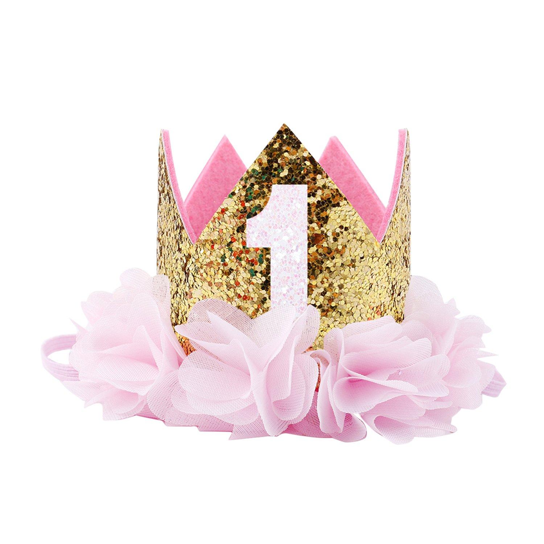 COUXILY Baby Princess Tiara Crown, Baby Girls Birthday Hat Tiara Party Hat