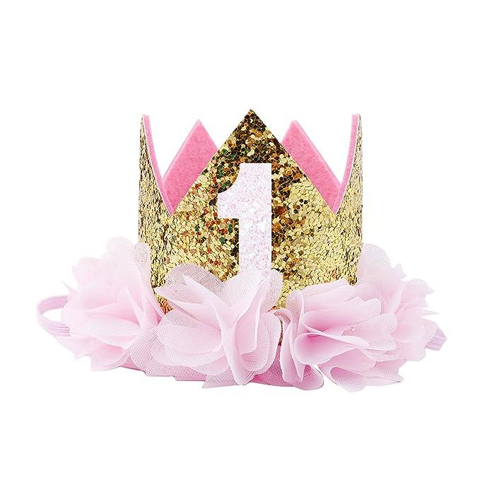 COUXILY Princesa bebé Flor Corona Diadema cumpleaños Accesorios para el Cabello un