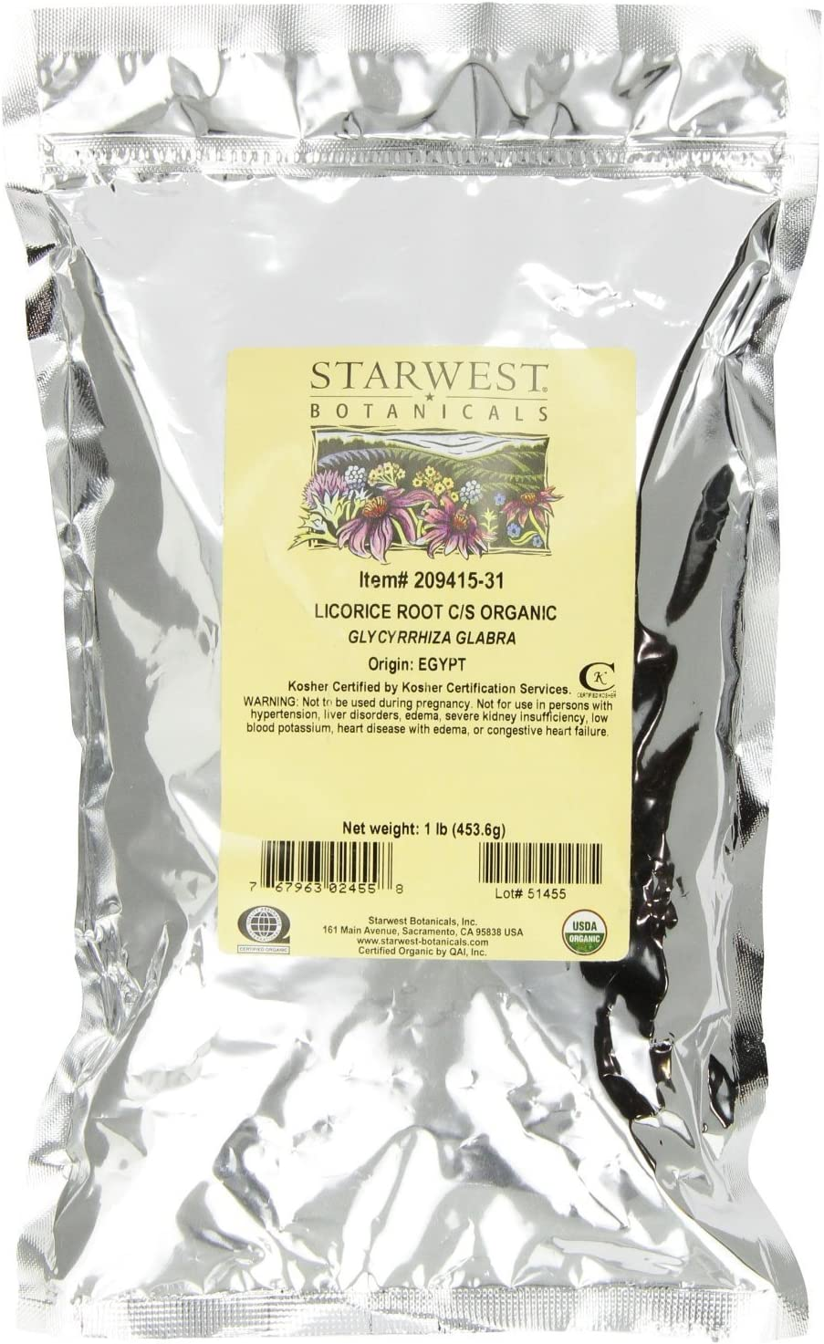 Starwest Botanicals Organic Licorice Root Loose Cut and Sifted, 1 Pound Bulk Bag
