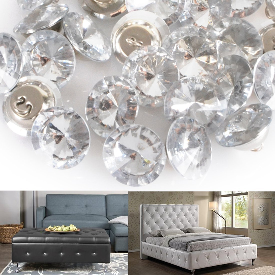 Yosoo 50Pcs Rhinestone Crystal Upholstery Buttons with Metal Loop Buttons for Sewing Sofa Button DIY Crafts Decoration 20mm