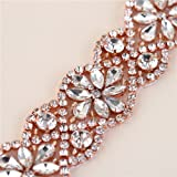XINFANGXIU Rose GoldCrystal Dress Belt Applique