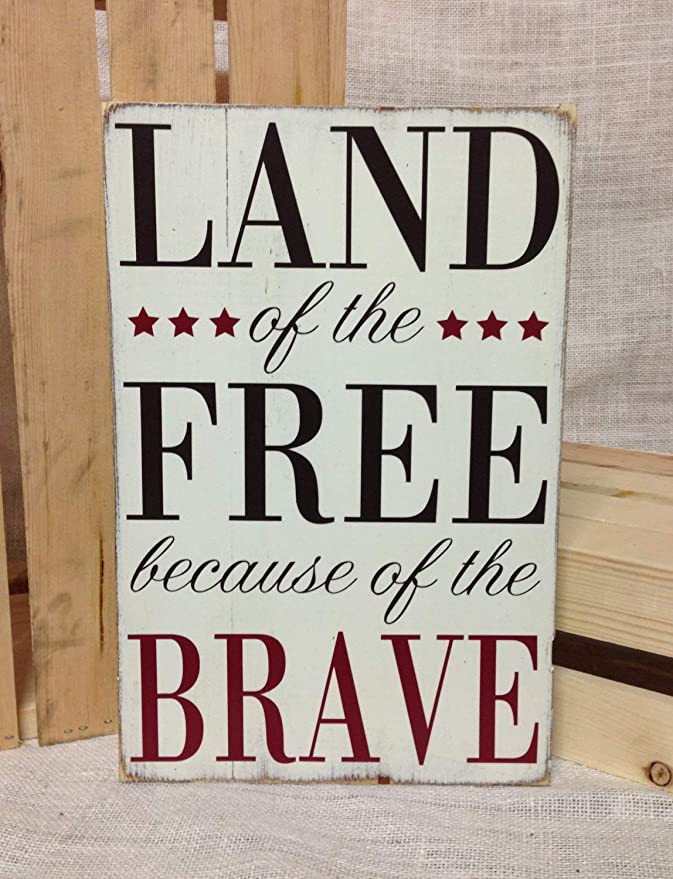 Mother Wife Sister Daughter Patriotic Wall Sign Land of the Free Because of My