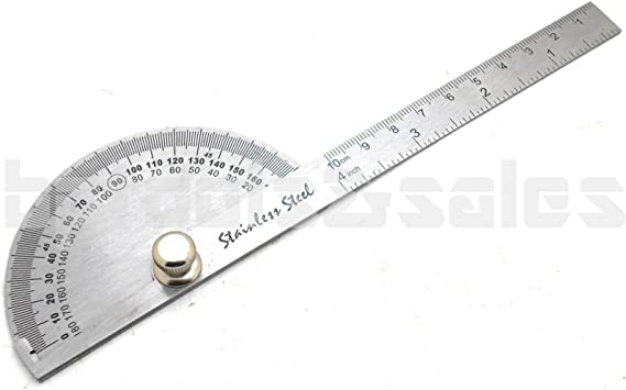 Stainless Steel Rotary Protractor Angle Rule Gauge Machinist Engineer Tools