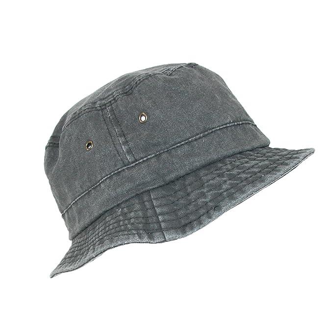 57122134 Dorfman Pacific Black Cotton Stone Washed Summer Bucket Hat, Small/Medium,  Black