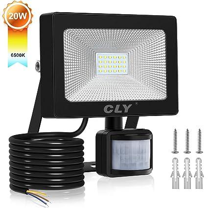 20W CLY Foco LED Exterior 2000LM,Luz Pared Sensor Movimiento Cálida 6500K, IP66 Focos