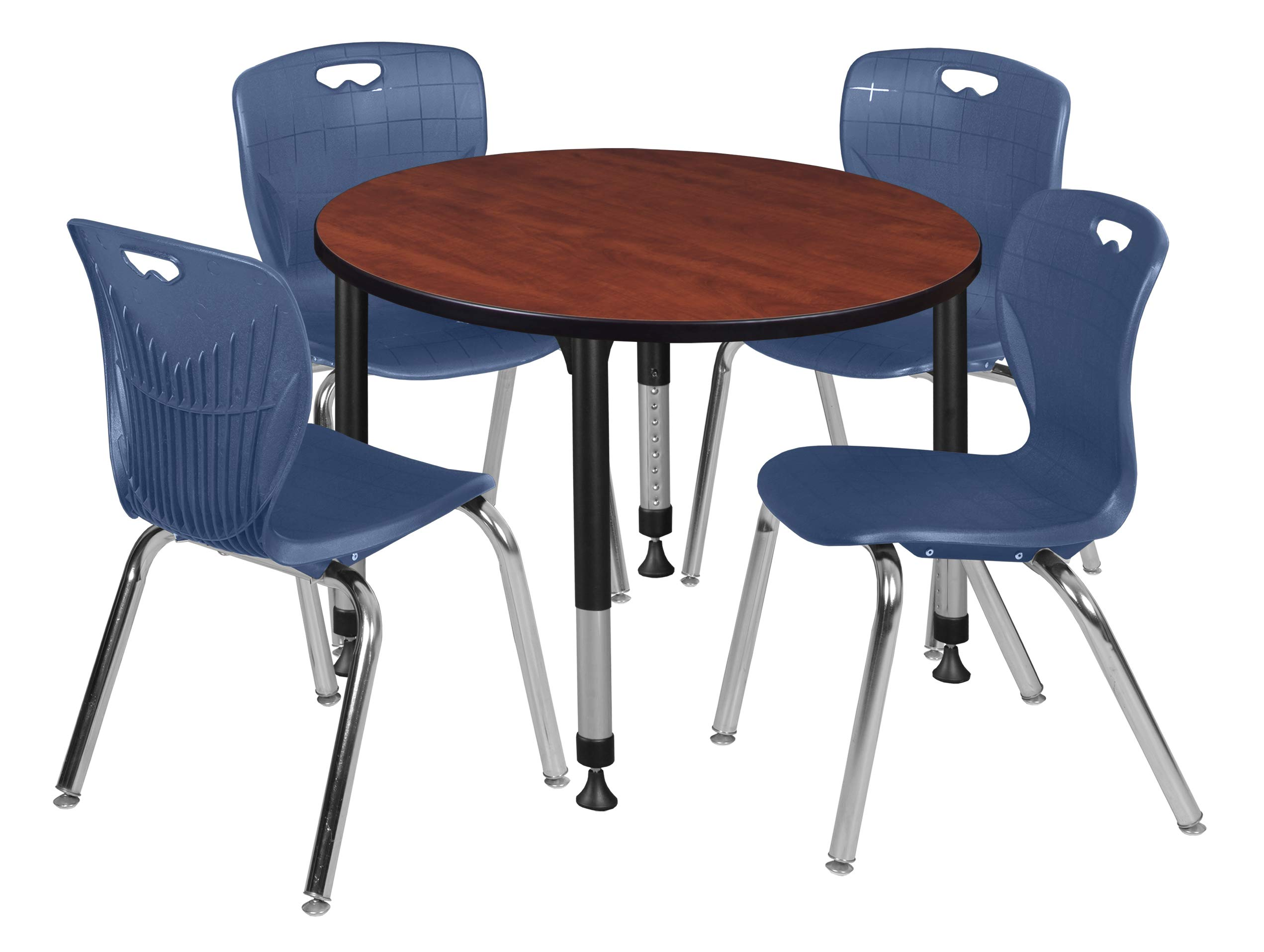 Regency TB42RNDCHAPBK40NV Kee Height Adjustable Classroom Table Set with Four 18'' Andy Chairs 42'' Cherry/Navy Blue