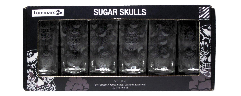 Luminarc Sugar Skulls Satin Etched Shot Glass (Set of 6), 2.25 oz J8918