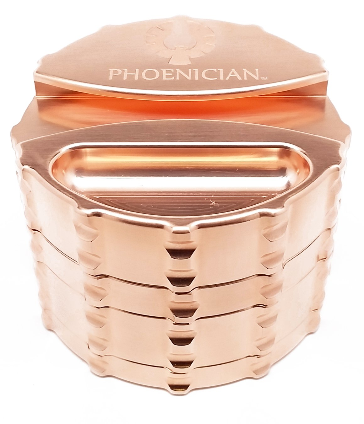 Phoenician Elite Grinder - Large 4 Piece - Copper Plated with Papers Holder