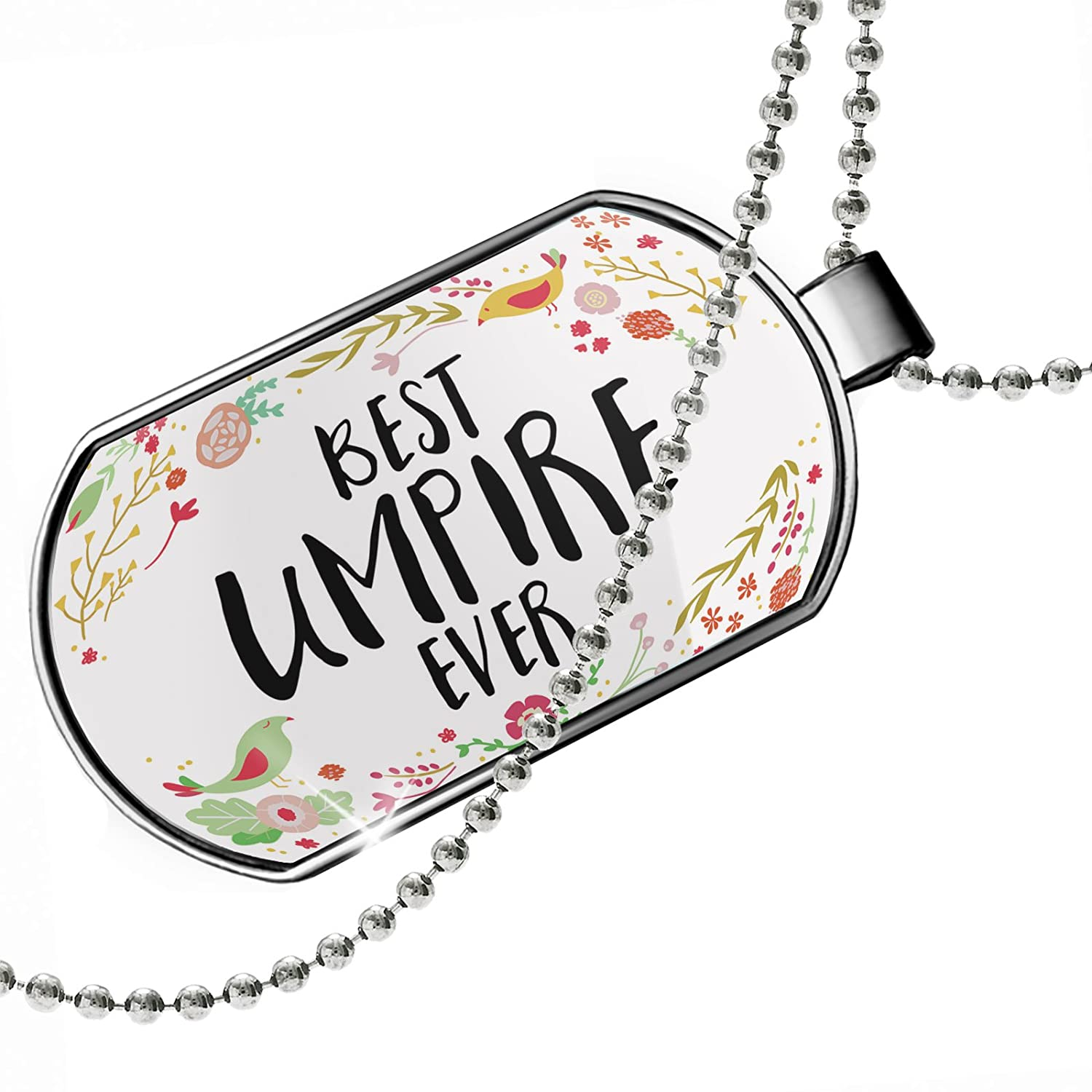 NEONBLOND Personalized Name Engraved Happy Floral Border Umpire Dogtag Necklace