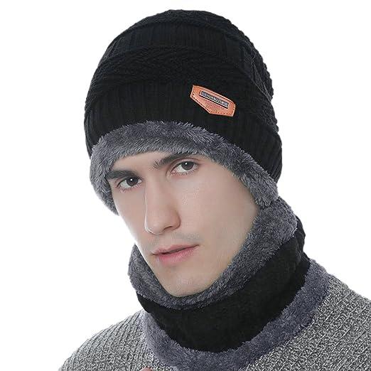 a56d3ad7ba4 Tongda 2PCS Knitted Scarf Hat Men Men Winter Warm Beanie Snow Ski Skull Cap  Set Black