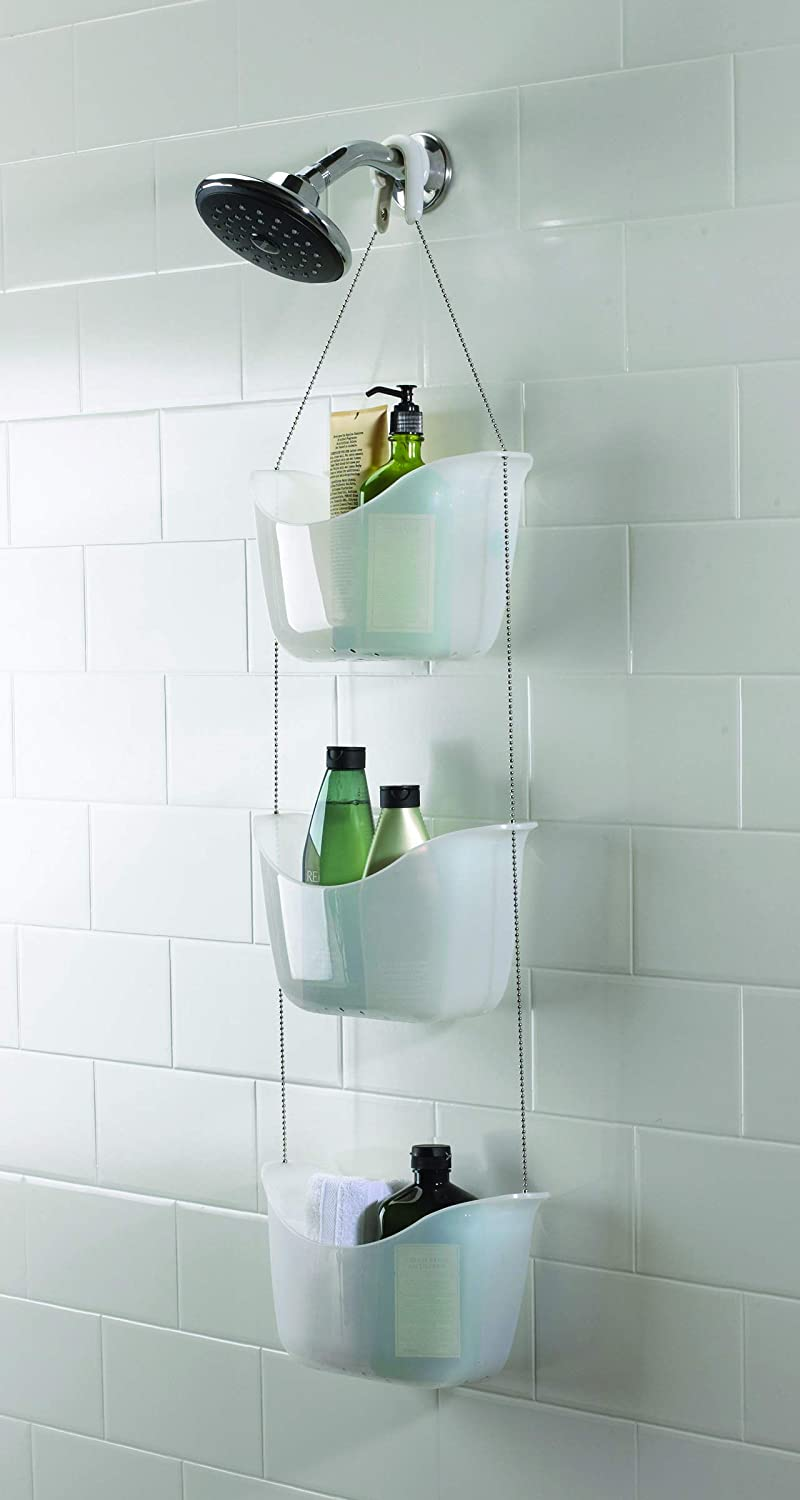 11-1//4 inch x 5-1//4 inch x 36-1//2 inch h Bathroom Storage and Organizer for Bath Supplies and Accessories, White Hanging Shower Caddy