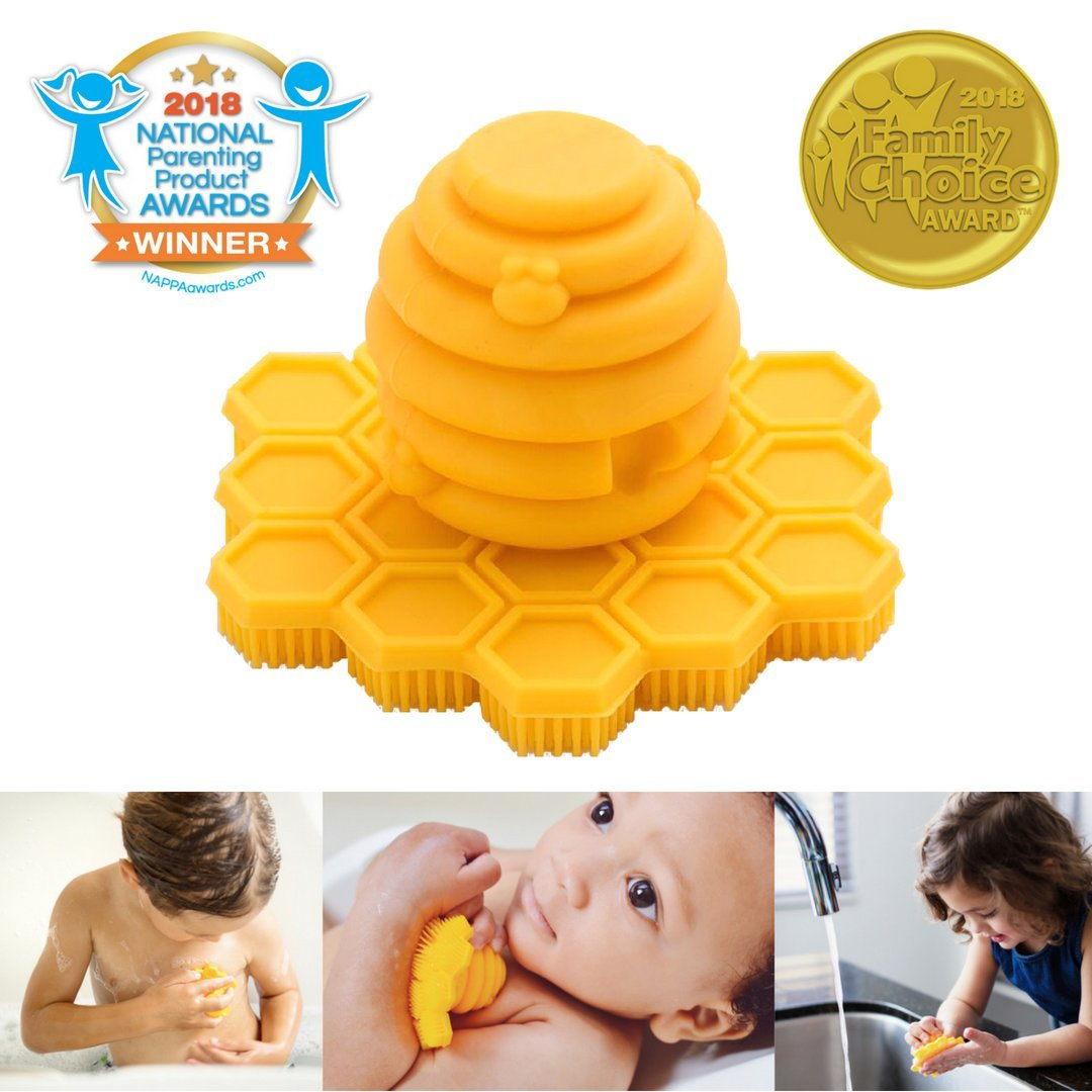Award-Winning ScrubBEE Silicone Hand & Body Scrubber for Babies, Toddlers & Preschoolers (2-Pack) by Big Bee, Little Bee (Image #1)