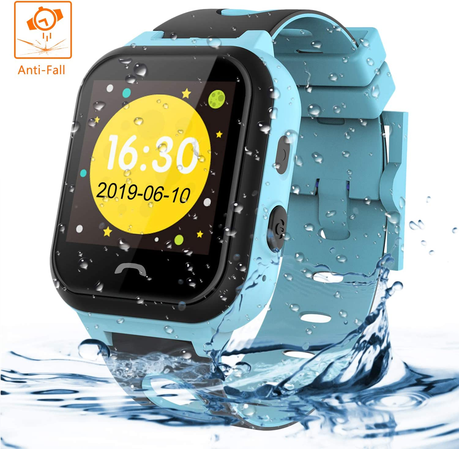 Themoemoe Kids Smartwatch Phone, Kids Smartwatch Waterproof Anti-Fall 2G GPS/LBS Tracker SOS Camera Games Compatible with Android iOS(Blue)