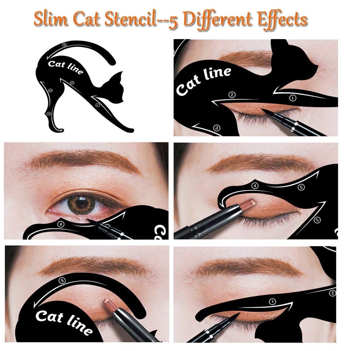 2 en 1, plantilla de PVC con forma de gato para delineado de ojos y para maquillaje de ojos ahumados, guía para delinear ojos de Ladygo: Amazon.es: Belleza