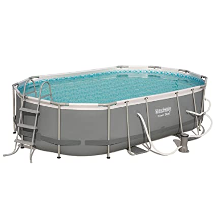 Bestway 16ft x 10ft x 42in Power Steel Above Ground Swimming Pool Set with  Pump