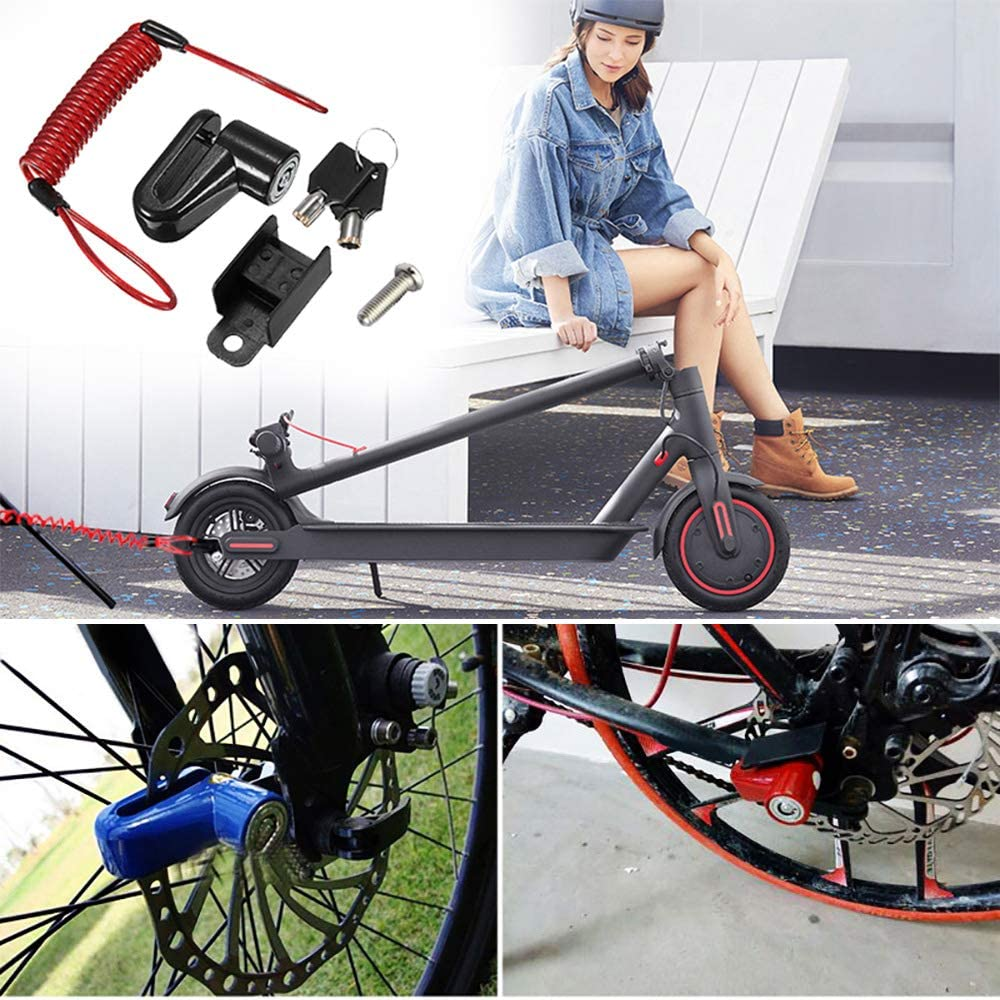 Disc Brakes Wheels Lock Anti-theft Steel Wire Lock Professional Anti-theft Motorcycle Alarm Disc Lock with Wire Compatible with Xiaomi Mijia M365 Electric Scooter Anti-loss