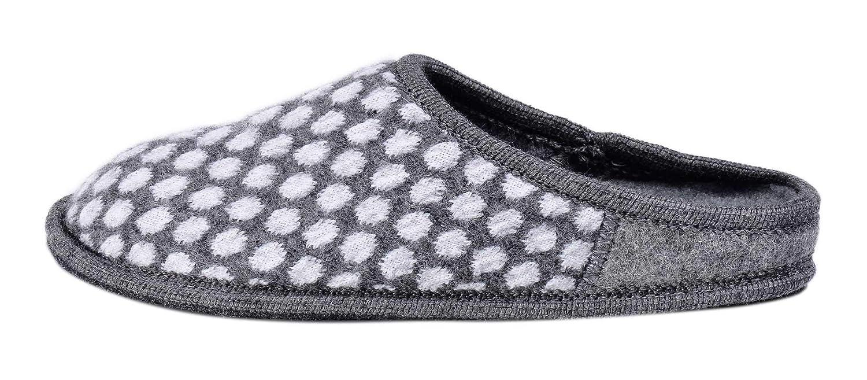 Le Clare Nuvola pois -Damen Winter- Hausschuh aus Wollstoff mit ausziehbarer Einlegesohle