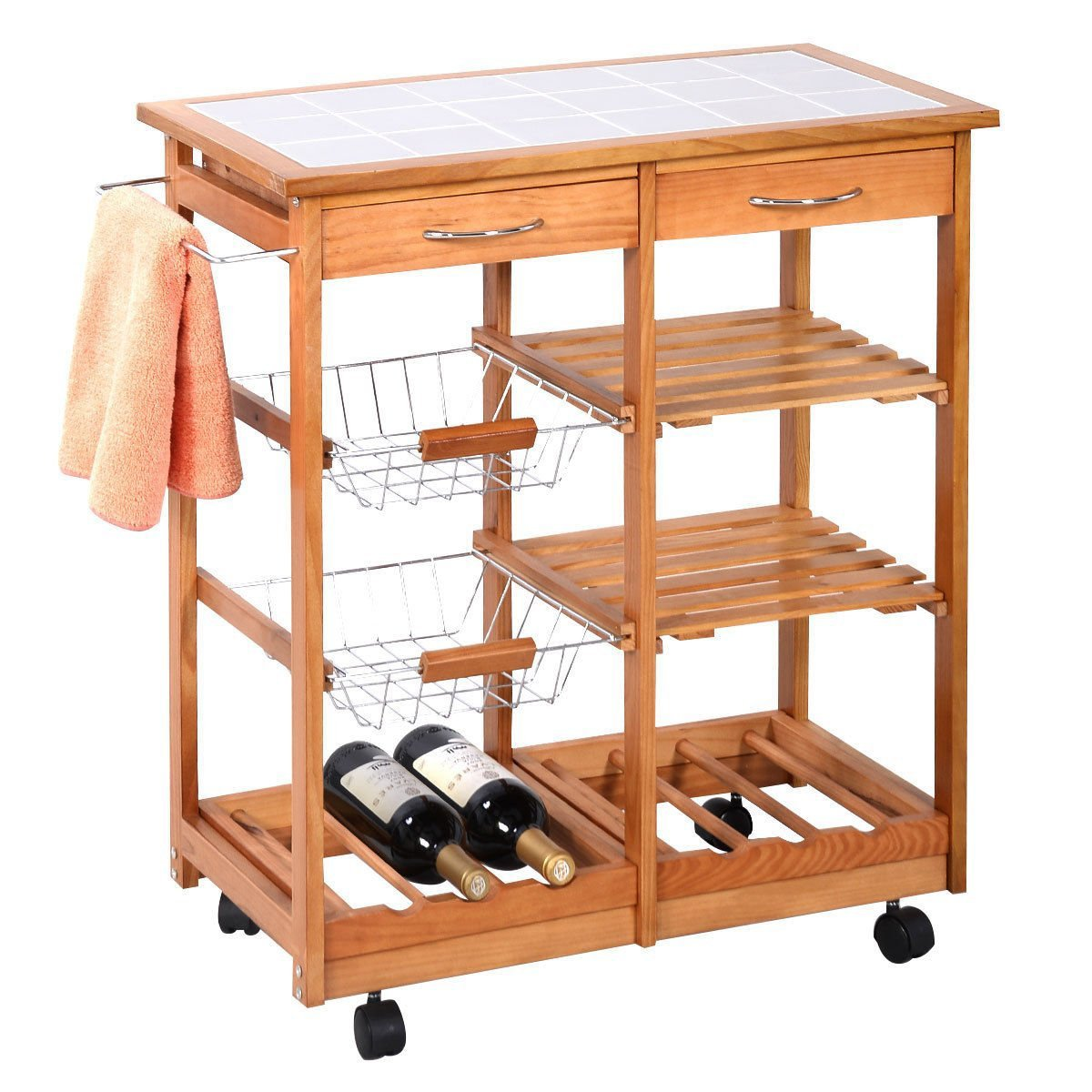 amazon com portable rolling wooden kitchen trolley cart amazon com portable rolling wooden kitchen trolley cart countertop dining storage drawers stand new w 6 bottle wine rack kitchen islands carts