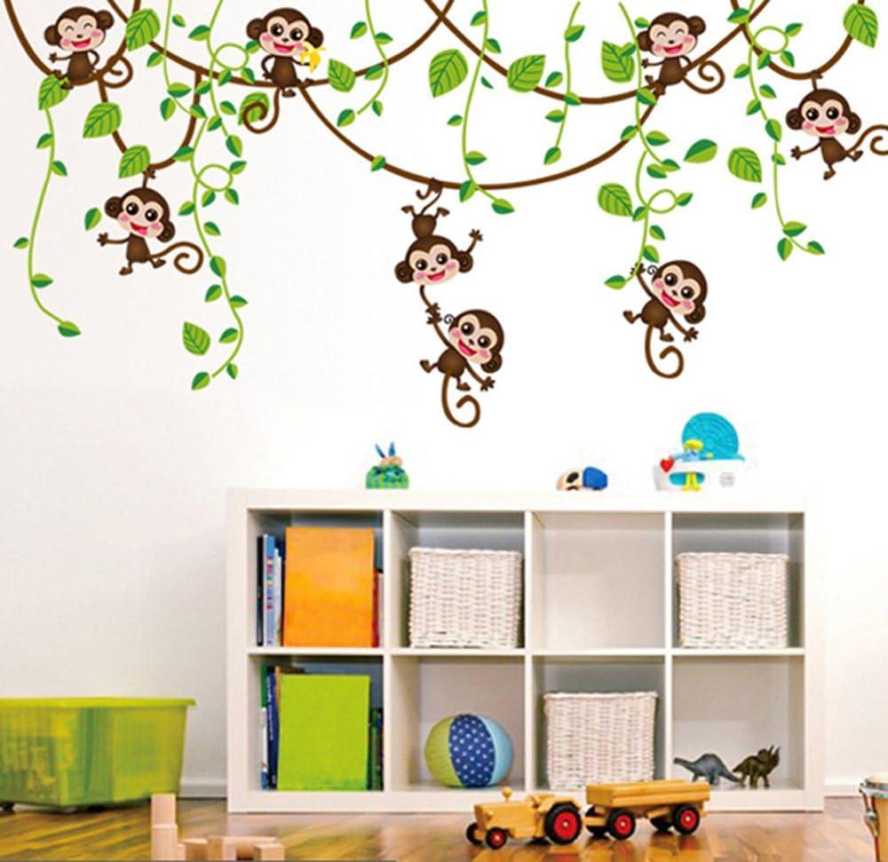 ufengke/® Monos Lindos Enredaderas de Los /Árboles Pegatinas de Pared Vivero Habitaci/ón de Los Ni/ños Removible Etiquetas de La Pared Murales