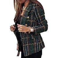 Yeirui Women's Slim Fit Lapel Single-Breasted Long Sleeve Wear to Work Plaid Blazer Coat