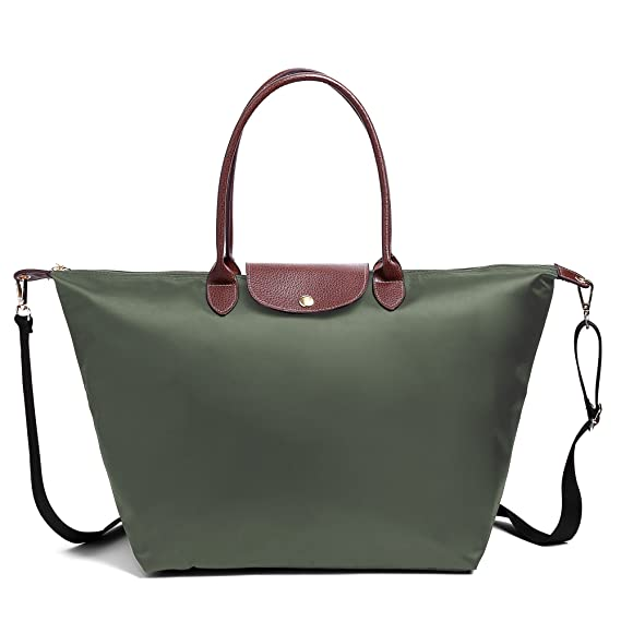 BEKILOLE Women Fashion Waterproof Tote Bag Nylon Shoulder Beach Bag with  Shoulder Strap- ArmyGreen Color dce9aa0f3524d