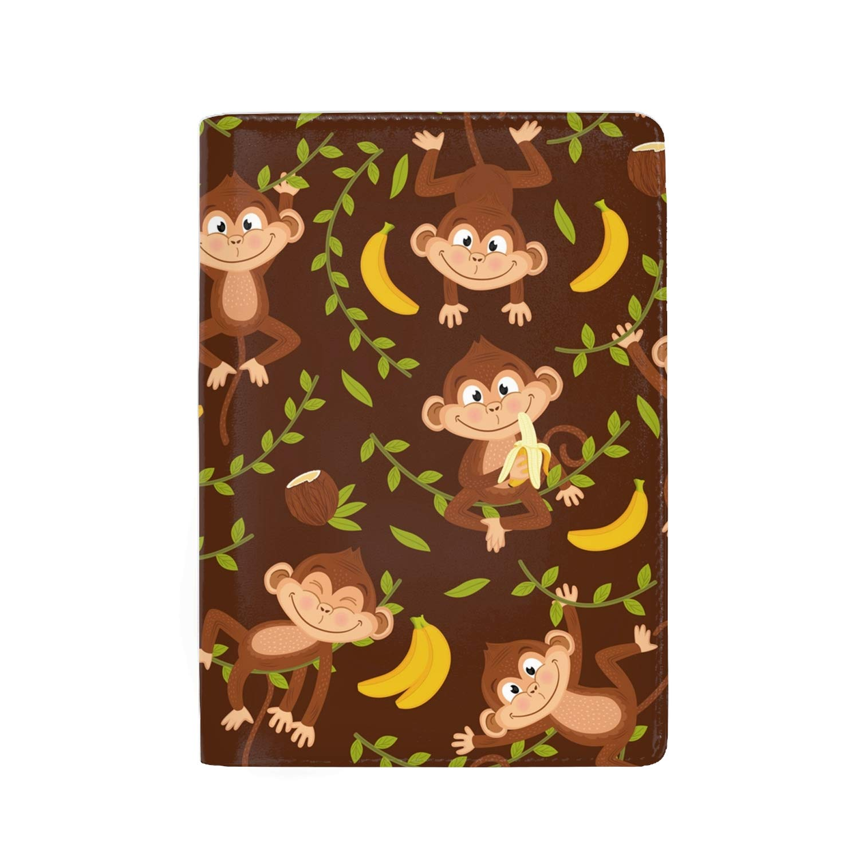 RFID Passport Holder Cover Traveling Passport Case Happy Monkey Bananas
