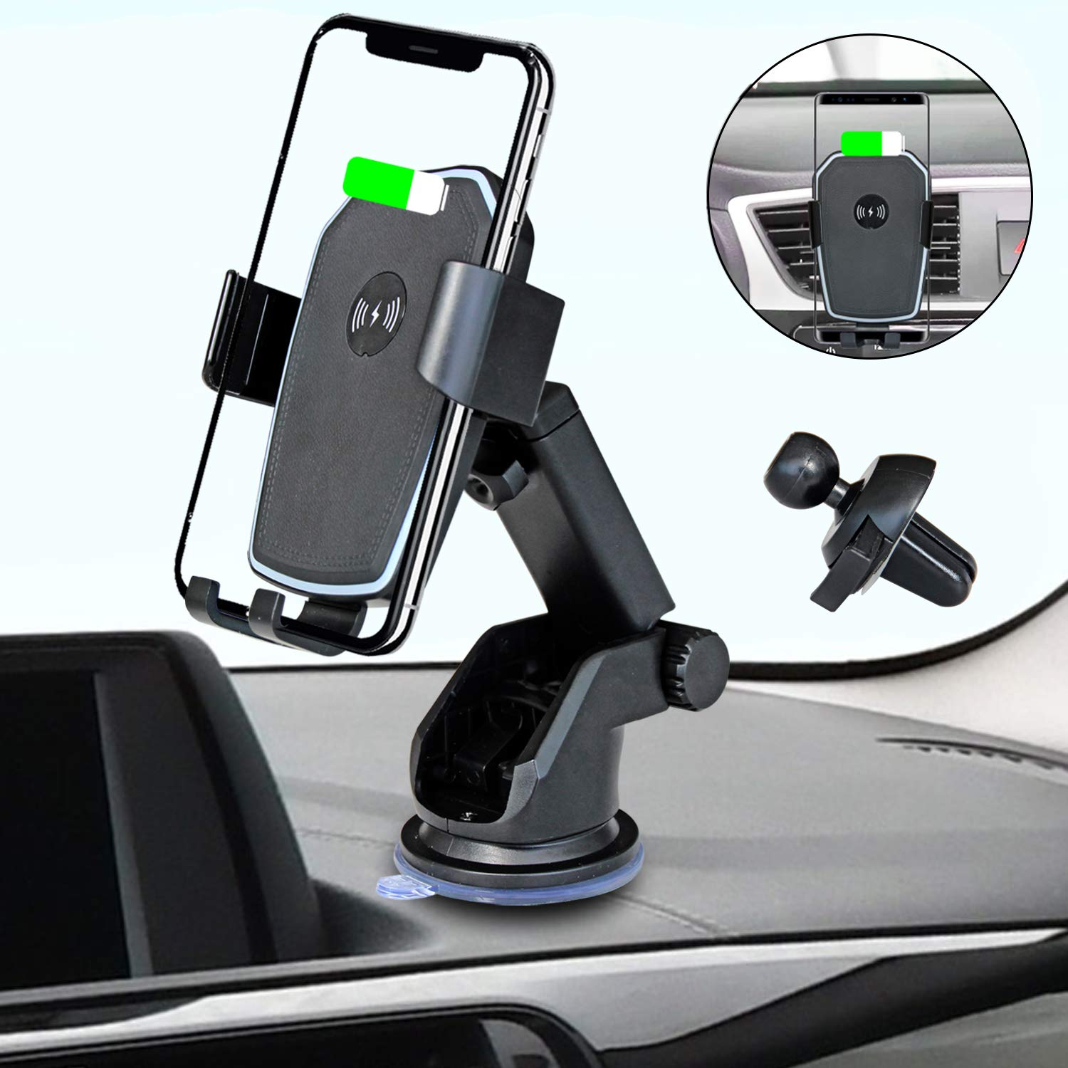 Wireless Car Charger Mount Auto Clamping Gravity Sensor Car Mount 10W Qi Power Fast Charge Air Vent Phone Holder Compatible for iPhone Xs/Max/X/XR/8/8 Plus,Samsung Note 9/ S9/ S9+/ S8 All Qi Enabled by Medoon