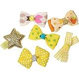 Phenovo 6Pcs Mixed Ribbon Bow Yellow Polyester Hair Clips For Girls