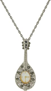 product image for 1928 Jewelry Antiqued Silver-Tone Mandolin Watch Pendant Necklace