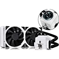 DEEPCOOL Captain 240EX White AIO Liquid CPU Cooler, White LED Waterblock, 240mm Radiator, Dual 120mm Black PWM Fans, White, AM4 Compatible, 3-Year Warranty